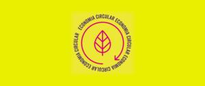 """selo circular, com uma folha no centro, e os dizeres """"economia circular"""" ao redor dela"""